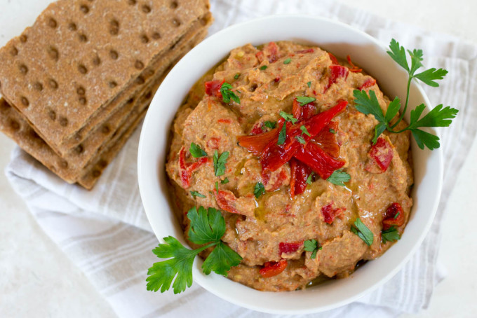 Roasted Eggplant & Red Pepper Dip with Tahini by Parsley In My Teeth, easy appetizers, healthy appetizers