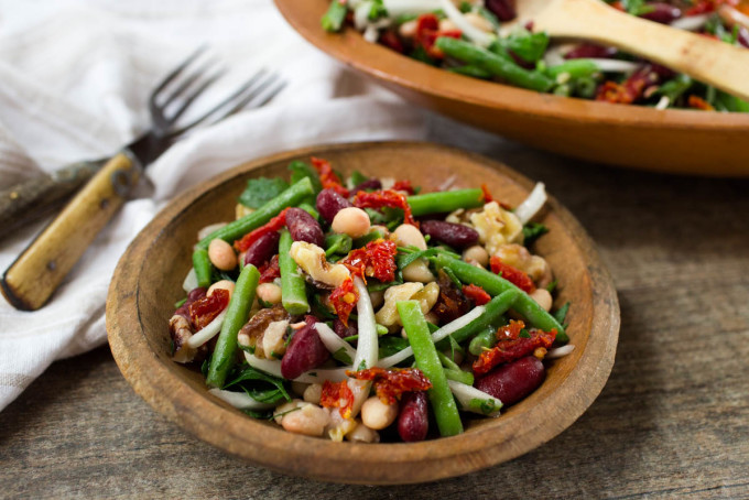 Three Bean Salad with Sun-dried Tomatoes Walnuts & Parsley by Parsley In My Teeth