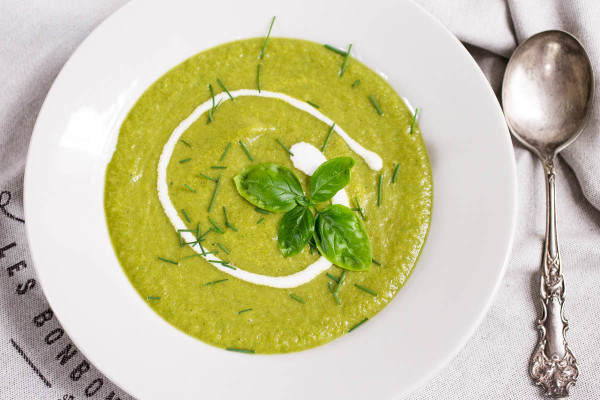 Cream of Broccoli and Basil Soup from Parsley In My Teeth