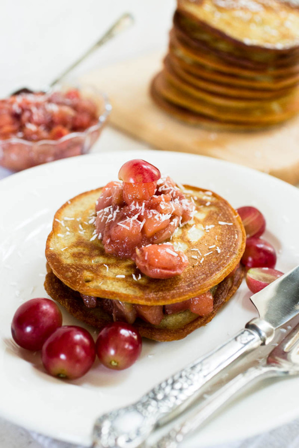 Einkorn Pancakes with Apple and Red Grape Compote by Parsley In My Teeth