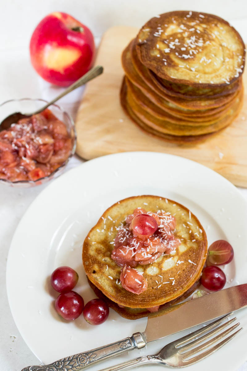 Einkorn Pancakes with Apple and Red Grape Compote from Parsley In My Teeth