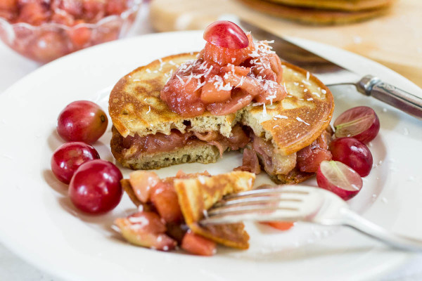 Einkorn Pancakes with Apple and Red Grape Compote via Parsley In My Teeth