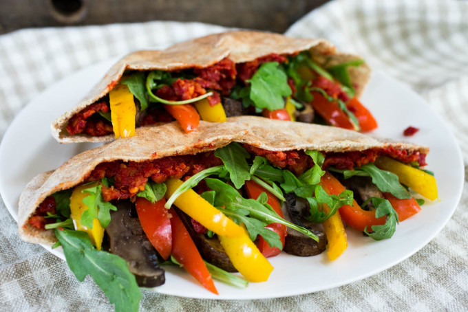 Portabella Mixed Peppers & Arugula Pita Pocket with Sun-Dried Tomato Spread by Parsley In My Teeth