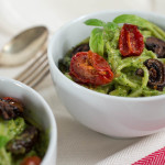 Parsley & Pistachio Pesto Pasta with Roasted Tomatoes & Mushrooms