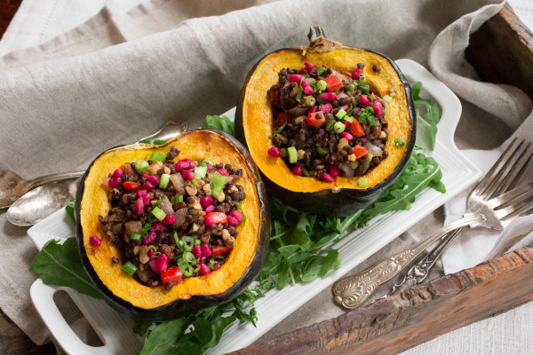 Acorn Squash Stuffed With Beluga Lentils Walnuts Red Peppers Amp Pomegranate
