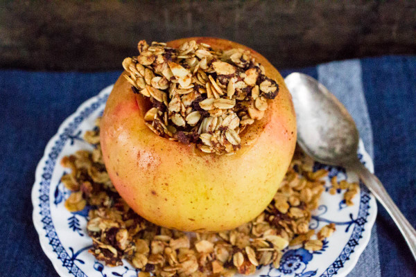 Baked Cinnamon-Nutmeg Apples Stuffed with Oats Dates & Sliced Almonds by Parsley In My Teeth