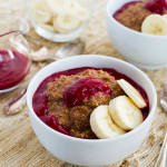 Chocolate-Banana Quinoa Breakfast Bowl & Raspberry Sauce