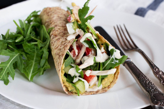 Middle Eastern Salad Wrap with Chicpeas Arugula Hummus & Tahini Dressing by Parsley In My Teeth