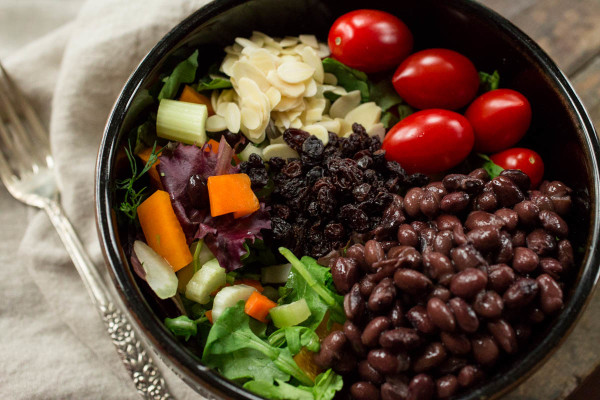Mixed Greens Salad with Black Beans Sliced Almonds & Black Currants by Parsley In My Teeth
