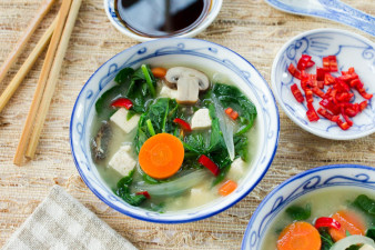 Mushroom Onion & Tofu Miso Soup with Carrots & Spinach