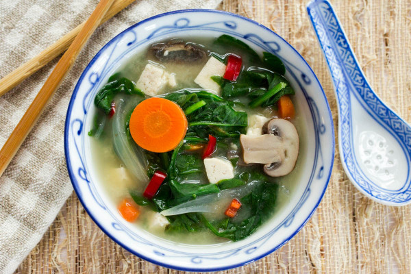 Mushroom Onion & Tofu Miso Soup with Spinach & Carrots by Parsley In My Teeth