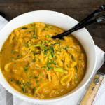 Roasted & Curried Delicata Squash-Carrot Puree with Zucchini & Yellow Squash Noodles