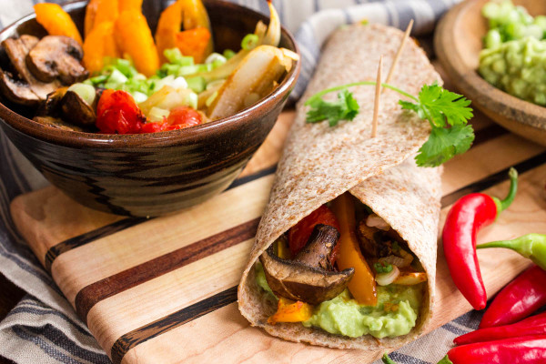 Roasted Vegetable & Mushroom Fajitas with Guacamole