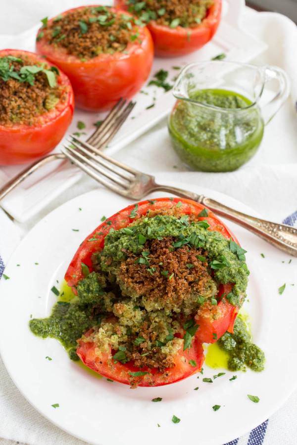 Vegan Basil Pesto & Quinoa Stuffed Tomatoes