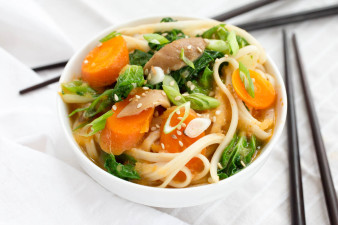 Spicy Asian Noodle Soup with Bok Choy & Shitake Mushrooms