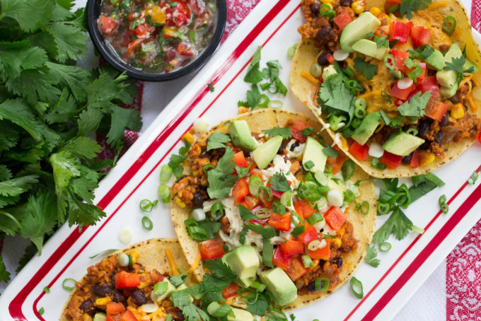 Spicy Vegan Tacos with Sweet Corn & Black Beans by Parsley In My Teeth, healthy vegan meals