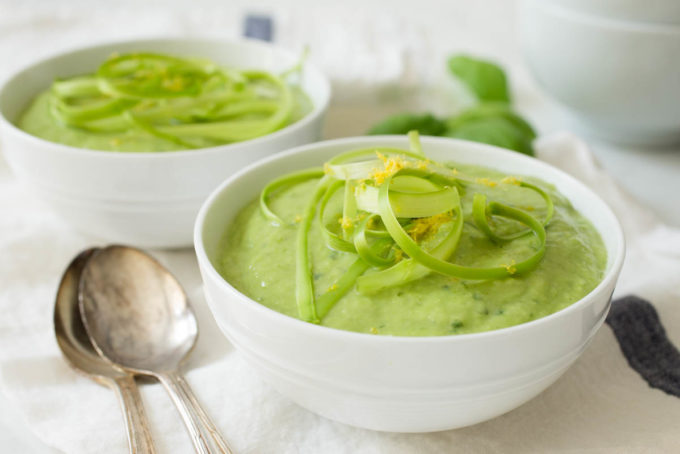 Asparagus Lemon Basil Soup with Creamy Avocado by Parsley In My Teeth, healthy, vegan, fast, easy