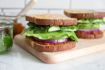 Stacked Vegetable Sandwich with Parsley Pesto & Sun Dried Tomato-Basil Spread