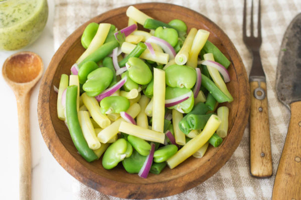 Fava 3-Bean Salad with Lemon-Cilantro Dressing by Parsley In My Teeth, vegan, healthy salads