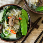 Miso Soup with Bok Choy Mushrooms Bean Sprouts & Mung Bean Noodles