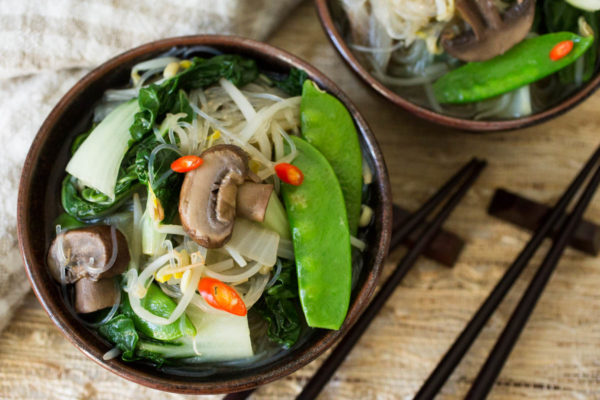 Miso Soup with Bok Choy Mushrooms Snow Peas & Mung Bean Noodles - Parsley In My Teeth, healthy, vegan