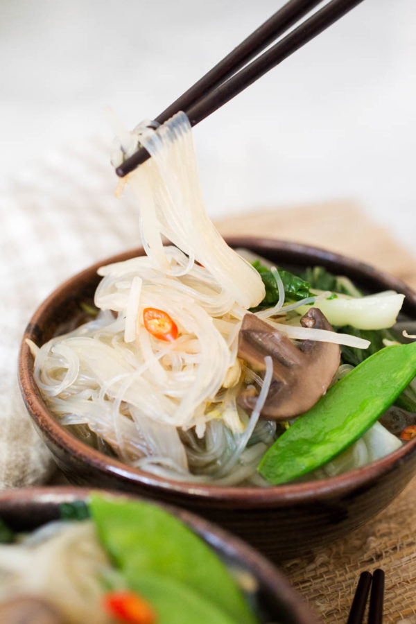Miso Soup with Bok Choy Mushrooms Snow Peas + Mung Bean Noodles - - Parsley In My Teeth-2