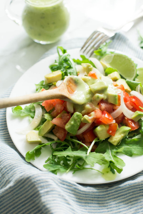 Summer Tomato Onion + Avocado Salad with Basil-Lime-Avocado Dressing - Parsley In My Teeth