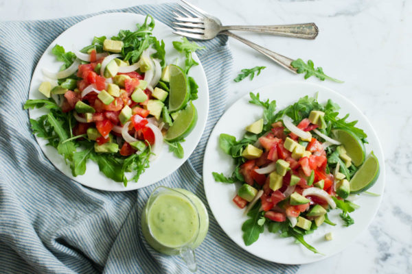 Summer Tomato Onion & Avocado Salad with Basil-Lime-Avocado Dressing by Parsley In My Teeth, healthy salad, vegan, easy salad