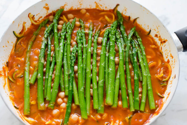 Asparagus, Zucchini And Chickpea Green Curry Recipe — Dishmaps
