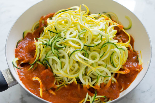 Yellow Squash & Zucchini Spaghetti with Chickpeas + Asparagus - Parsley In My Teeth
