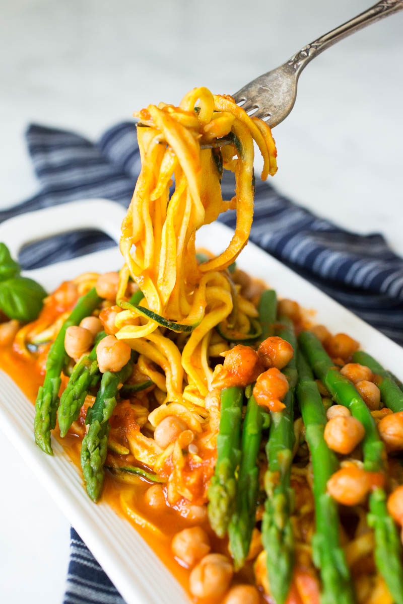 Yellow Squash & Zucchini Spaghetti with Chickpeas & Asparagus in Home Made Pasta Sauce from Parsley In My Teeth
