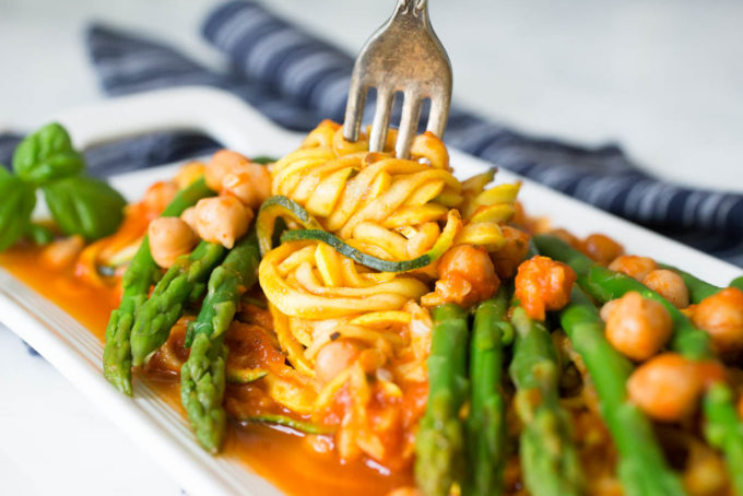 Yellow Squash & Zucchini Spaghetti with Chickpeas + Asparagus in Homemade Pasta Sauce from Parsley In My Teeth, healthy noodles, vegan noodles, vegetable noodles, zucchini noodles, spiralizer