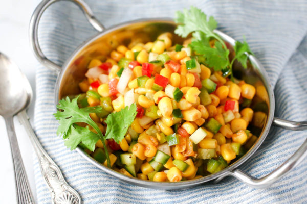 Indian Corn Bhel by Parsley In My Teeth, healthy appetizer, healthy side dish, healthy Indian appetizer, healthy Indian side dish