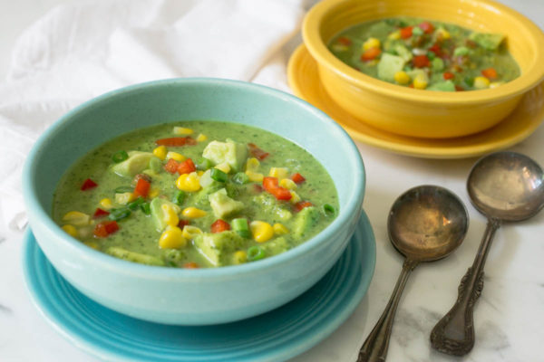 Mexican Fiesta Gazpacho with Avocado Corn & Cilantro by Parsley In My Teeth, vegan, healthy recipes, healthy vegan soup, summer vegan gazpacho