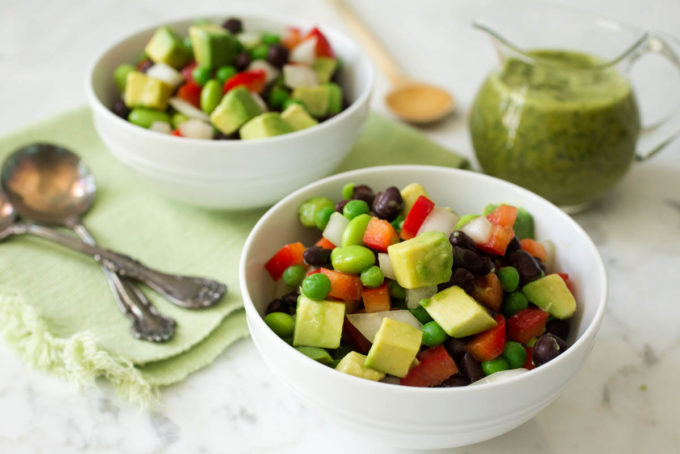 Avocado & Bean Salad with Spicy Cilantro-Lime Dressing by Parsley In My Teeth, vegan, healthy salad, healthy vegan salad