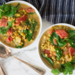 Coconut Curried Mung Beans with Tomatoes & Spinach