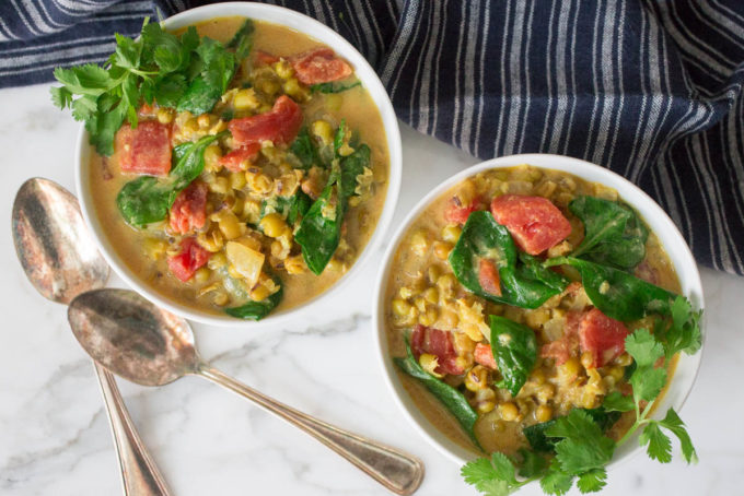 Coconut Curried Mung Beans with Tomatoes & Spinach by Parsley In My Teeth