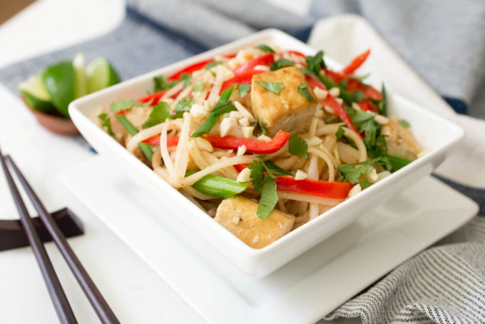 Tofu + Almond Pad Thai by Parsley In My Teeth, healthy vegan main dish