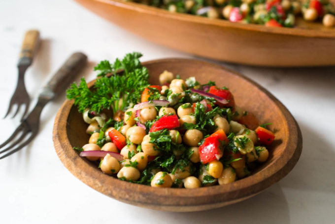 Za' atar Chickpea & Parsley Salad with Capers by Parsley In My Teeth, healthy vegan salad