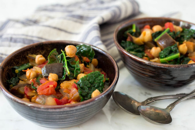 Ethiopian-Spiced Chickpea Kale & Eggplant Stew by Parsley In My Teeth, easy vegan stew