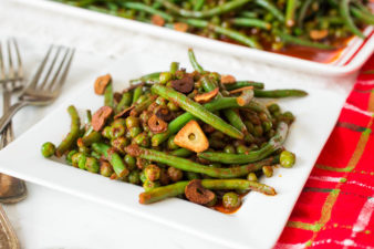 Holiday Green Beans & Peas in Tomato-Paprika Sauce with Crispy Garlic