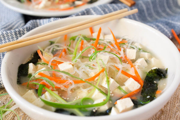 Sea Kelp Noodle Miso Soup with Tofu + Seaweed by Parsley In My Teeth, quick healthy vegan miso soup