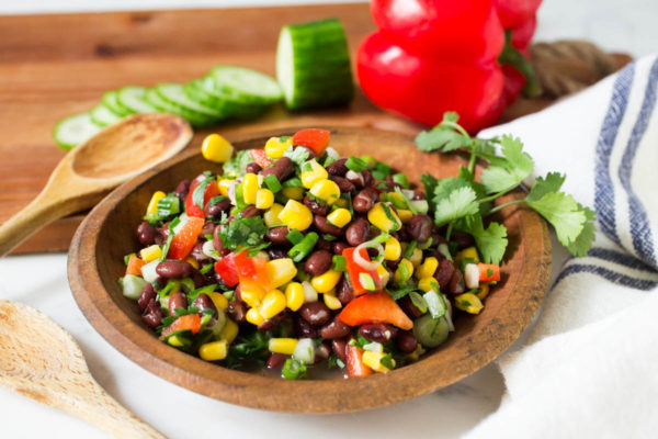 Mexican Black Bean Cucumber Red Pepper & Corn Salad by Parsley In My Teeth, easy healthy salads