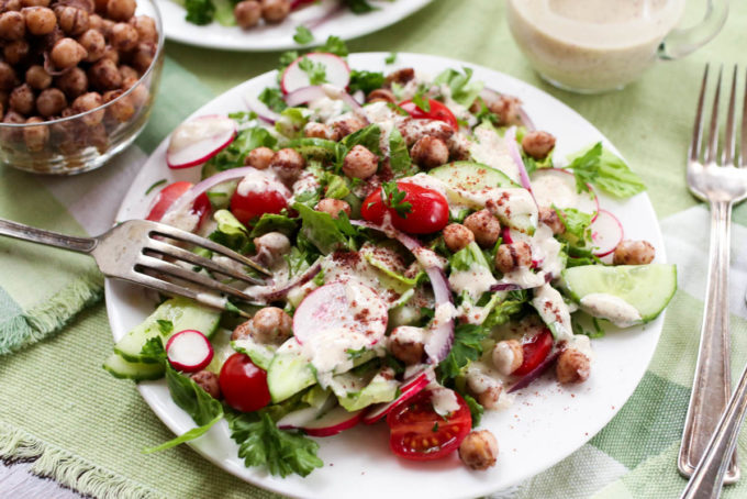Fattoush Salad with Chickpea-Sumac 'Croutons' + Tahini-Sumac Dressing by Parsley In My Teeth